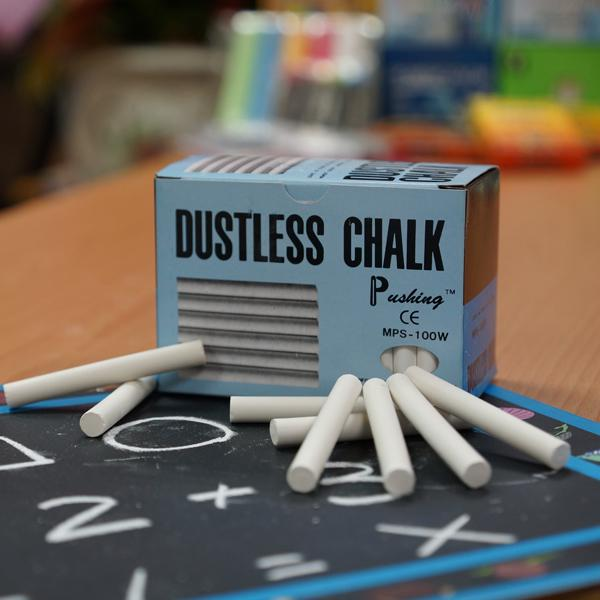 MPS-100W 硫酸鈣白色粉筆 (100入裝) - Calcium Sulfate Dustless Chalks (white 100pcs pack)