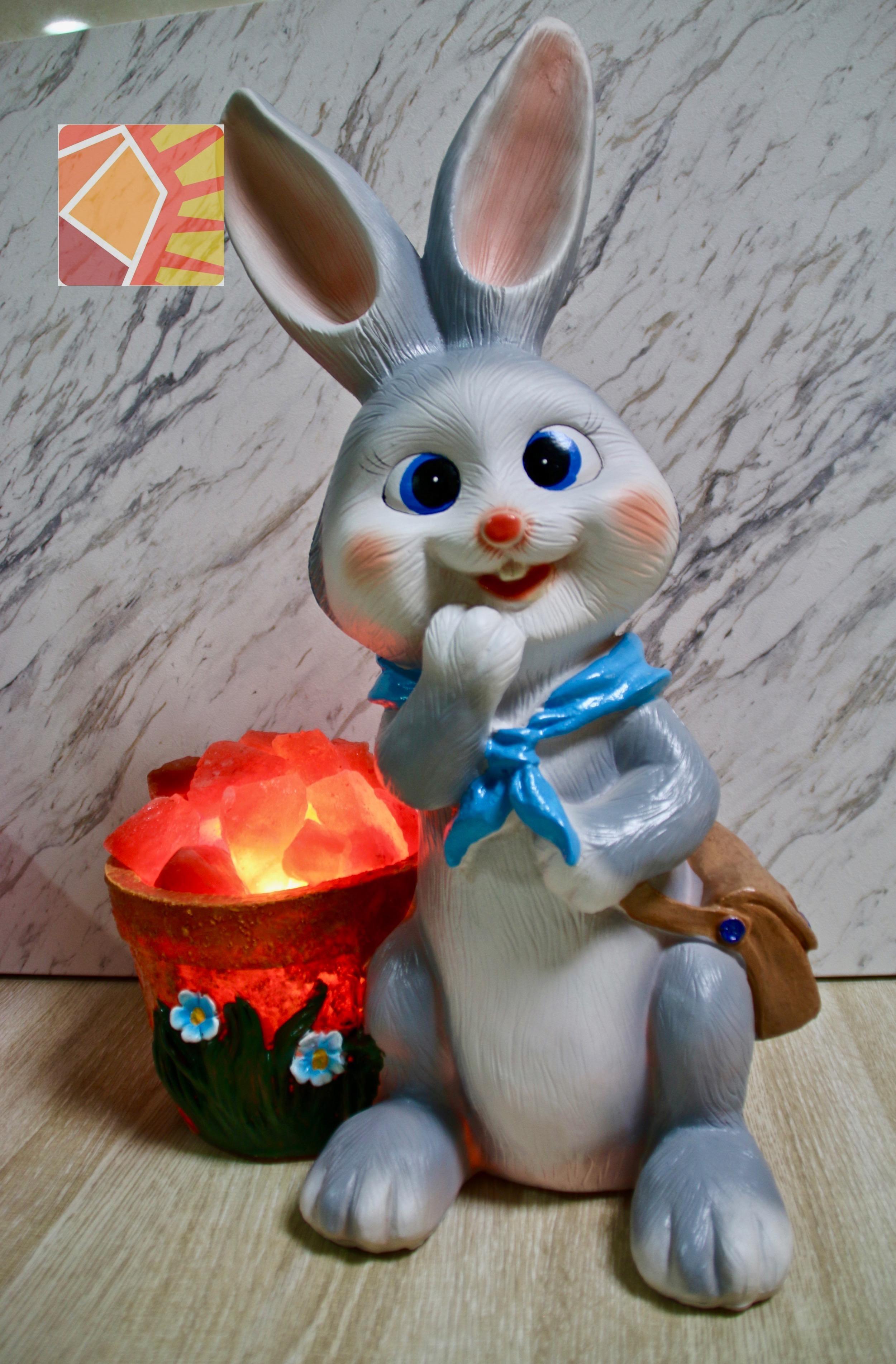雙喜天灰兔兔--藍領巾盆栽造型
