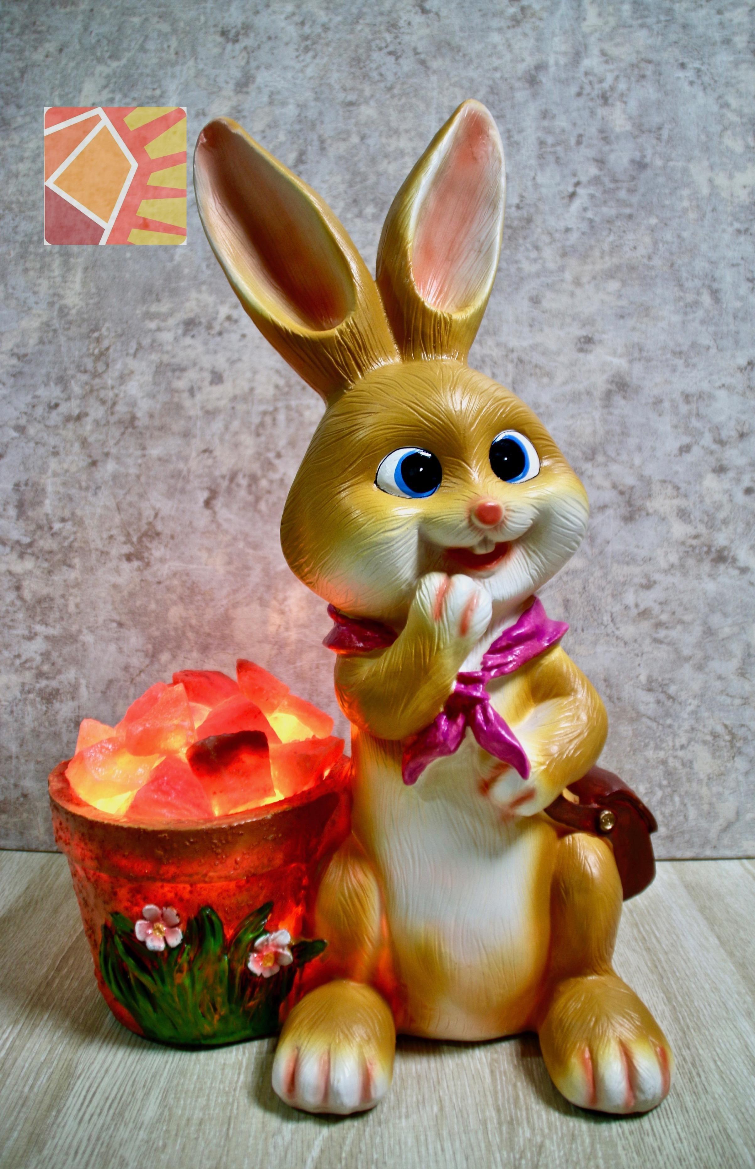 雙喜橘黃兔兔--粉紅領巾水桶造型