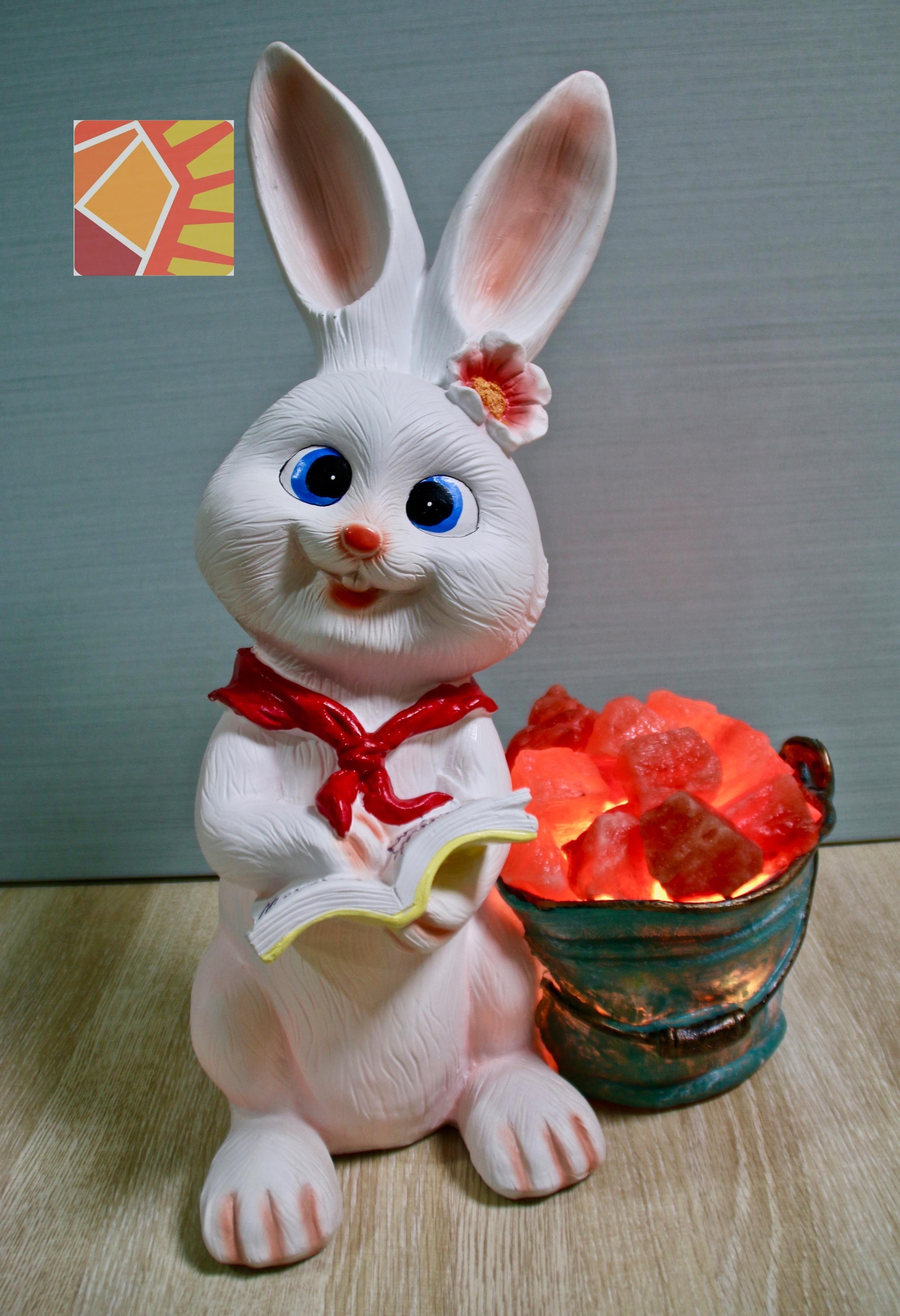 雙喜雪白兔兔--紅領巾盆栽造型