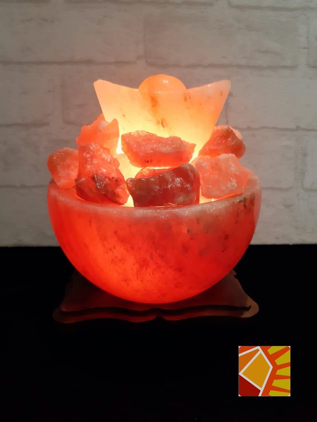 玫瑰元寶聚寶盆6吋造型鹽燈