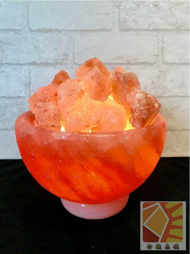玫瑰聚寶盆 8吋造型鹽燈