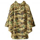 日本KIU 30023M 棕迷彩 空氣感兒童雨衣/披風式/寶寶雨披/防水披肩/斗篷 附收納袋(100cm+)