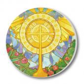 教會系列_陶瓷吸水杯墊_金黃十字