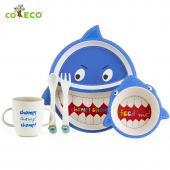 coeco竹纖維動物造型兒童餐具五件組-鯊魚