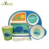 coeco竹纖維兒童經典五件組-藍色鯨魚款
