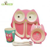 coeco竹纖維動物造型兒童餐具五件組-貓頭鷹