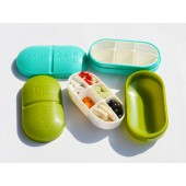 藥丸型造型小藥盒-軍綠色(六格丸型,隨身小藥盒)