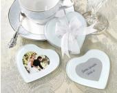 創意心型玻璃杯墊(10入) 可放照片 婚禮小物心型相框 ht-0004