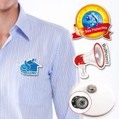 【客製化】A90-3150-063客製化壓克力胸章 (附磁性鈕扣) 7 x 2 cm